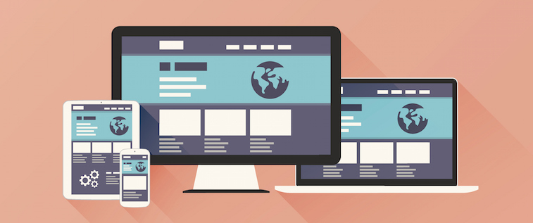 Responsive Web Design vector with flat style and long shadow.