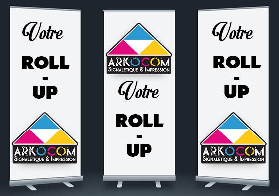 Fabrication et impression bâche banderole rollup kakemono arkocomROLL-UP-ARKOCOM