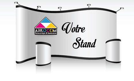 Fabrication et impression bâche banderole rollup kakemono drapeau STAND&COMPTOIR-ARKOCOM